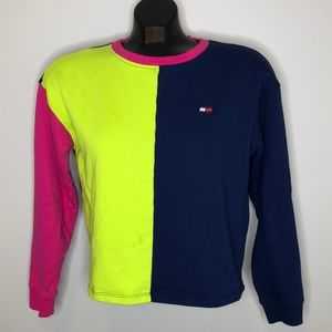 TOMMY HILFIGER retro neon color block cropped top